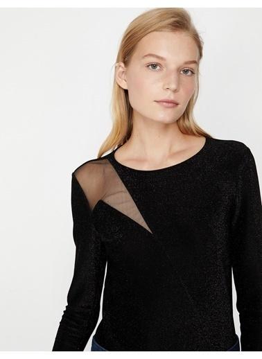 Koton Sim Detaylı Bluz Siyah